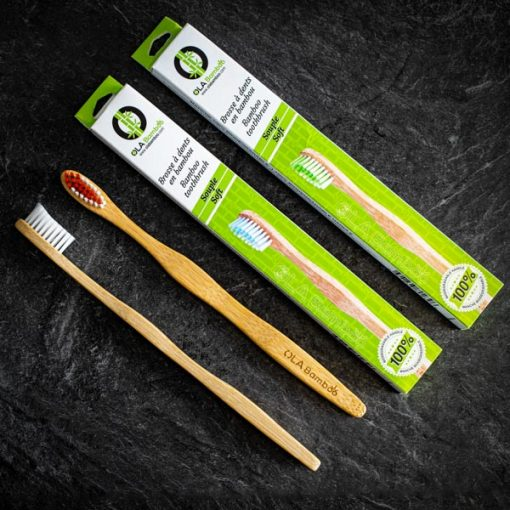 Bamboo toothbrushes with recyclable packaging