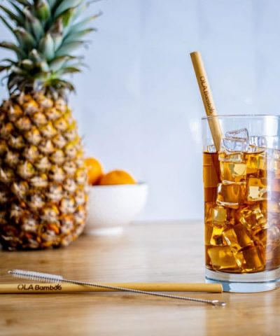 Pailles en bambou réutilisables avec brosse nettoyante