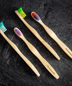 Paquet de 4 brosses à dents en bambou pour enfants
