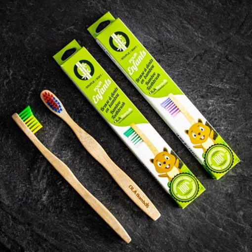 Bamboo toothbrush for kids with recyclable packaging
