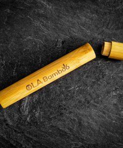 Bamboo toothbrush travel case