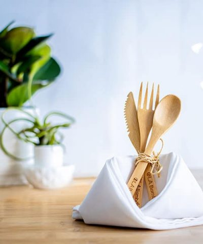Fourchette, couteau et cuillère en bambou avec sac de transport
