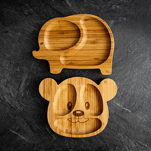 Elephant and teddy bear bamboo plates for babies