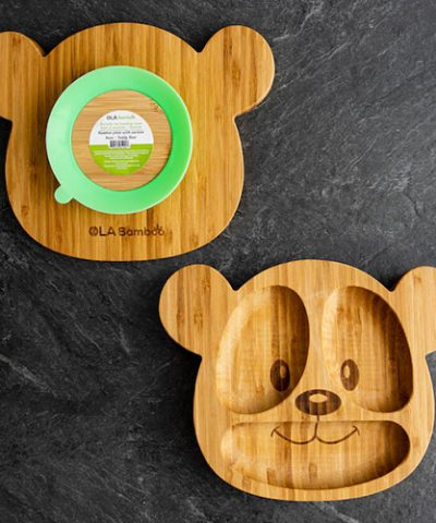 Teddy Bear bamboo plate for baby with green suction base