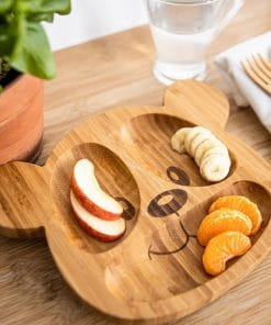 teddy bear bamboo plate for baby