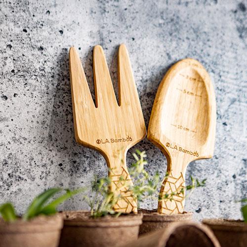 Shovel and rake made of bamboo