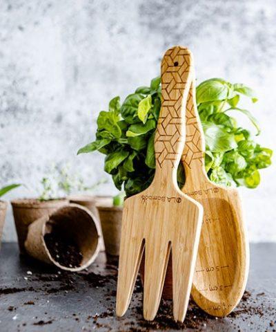 wooden shovel and rake